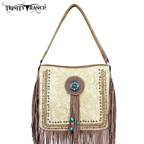 Tr21-8360 Montana West Trinity Ranch Fringe Design Handbag-tan Tr21-8360 Tn