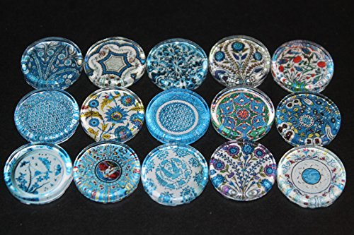 Designer Refrigerator Magnets - Majolica China Plates, Fine China Patterns Set 4