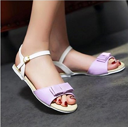 Easemax Womens Open Toe Ankle Buckle Strap Flat Sandals With Bows Purple m0bPrnJXpo
