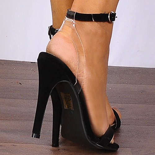 Shoe Closet Ladies Black Barely There Stilettos Peep Toes Strappy Sandals High Heels 44a6g