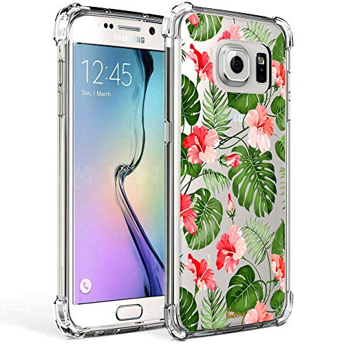 Galaxy S7 Case for Girl Clear with Tropical Flower Design Shockproof Bumper Protective Cases for Samsung Galaxy S7 5.1 Inch Flexible Silicone Slim Palm Tree Leaves Floral Pattern Rubber Cover -