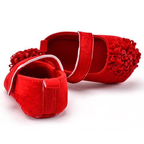 Lindo Niñas Flor Zapatos de bebé Zapatos Suaves Rojo