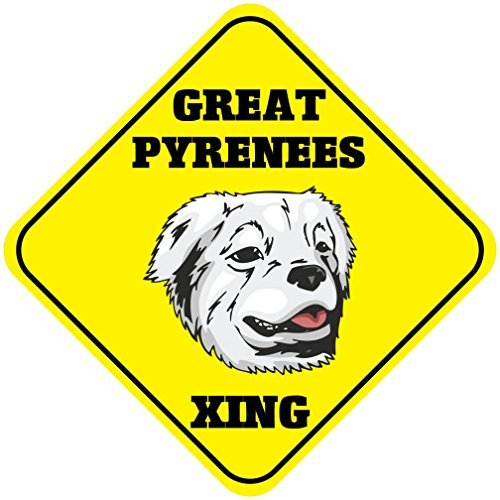 Gloria Yerkes Great Pyrenees Xing Metal Aluminum Novelty Sign 12x12 (Great Pyrenees Welcome Sign)