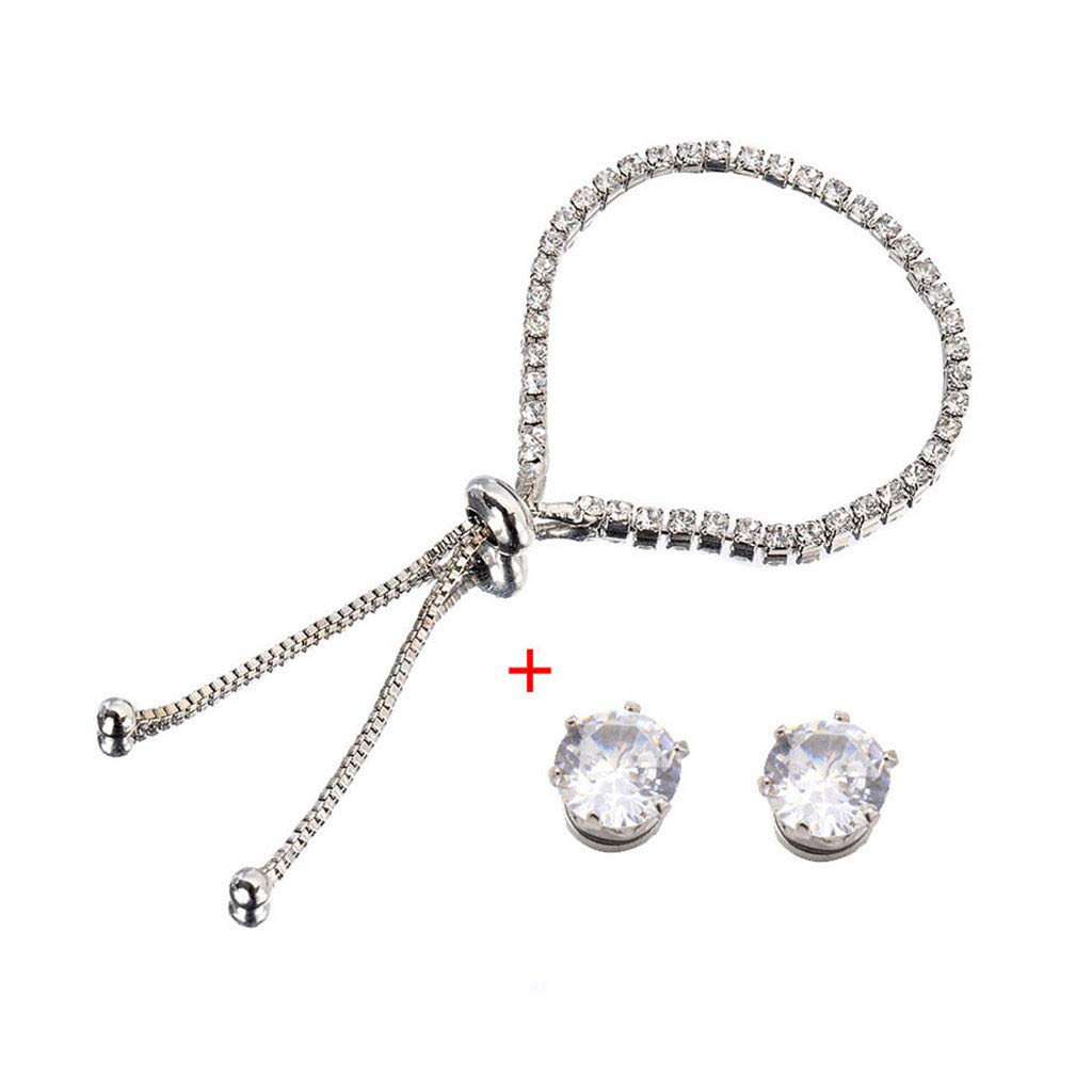 Toponly Jewelry Sets Fashion Popular Sleek Minimalist Diamond Rhinestone Bracelet Earrings Stud by Toponly (Image #2)