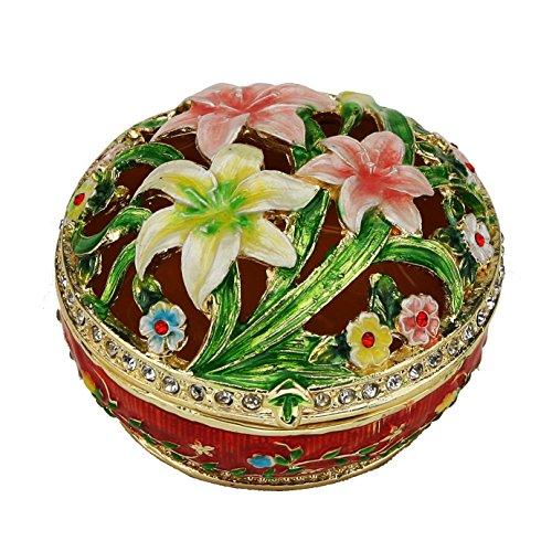 Sparkling Collectibles Pewter Lily Trinket Box - Swarovski Crystals, Keepsake, Figurine, Jewelry, Pill ()