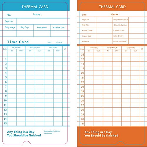 AmazonCom  Flexzion  Pack Time Cards Monthly Format Thermal