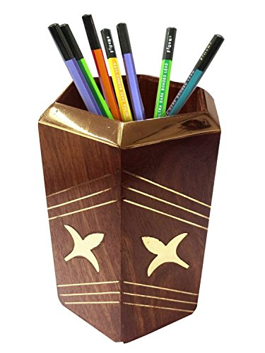 WhopperIndia Wooden Desk Pen Pencil Holder Stand Multi Purpose Use Pencil Cup Pot Desk Organizer with Flower Inlay 4 Inch by WhopperIndia