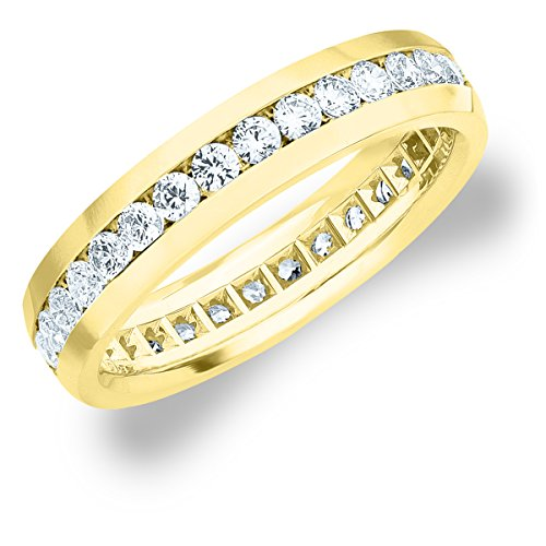 1.5 CT Men's Eternity Ring in 18K Yellow Gold, Handsome Mens Diamond Wedding or Anniversary Ring (F-G Color/ VS Clarity), Size 10.5 (18k Diamond Eternity Gold Ring)