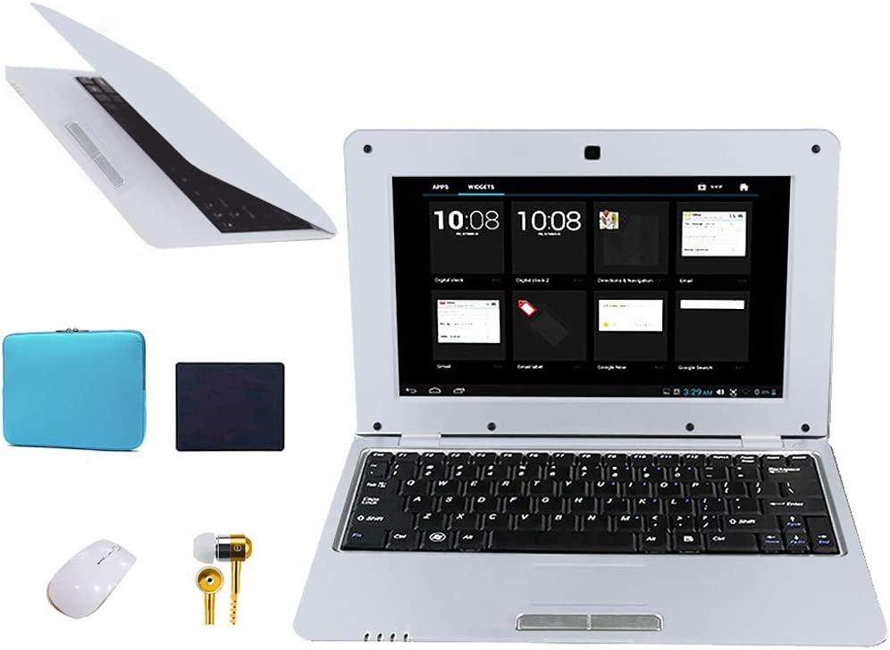 FANCY CHERRY 10 Pulgadas 8GB Laptop Netbook Notebook PC Ultrabook Android 4.4 HDMI WiFi Cámara (Laptop Bag + Mouse + Mouse Pad + Earphone) (Plata)