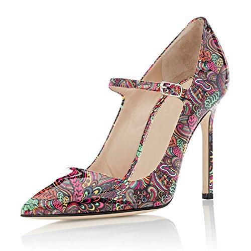 Scarpe Jane Scarpe Soireelady Sexy Alla Col Caviglia Tacco Rosa 3 Fiore Tacco Alto Tacco con Cinturino Stiletto Mary dFW84U8qwc