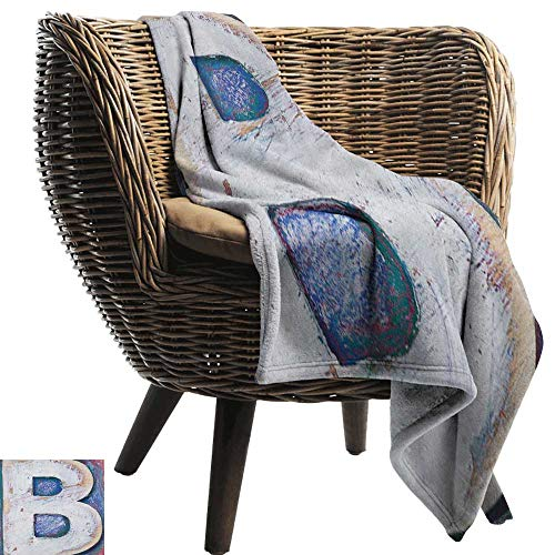 - warmfamily Super Soft Blankets Letter B Ancient Printing Design with Wooden Block Letters Capital B Rough Aged Worn Look All Season Light Weight Living Room36 Wx60 L