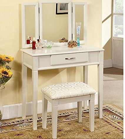 Vanity Tri Fold Mirror Table Makeup Station Bedroom Powder Room Bathroom  Mirrored Beauty Desk