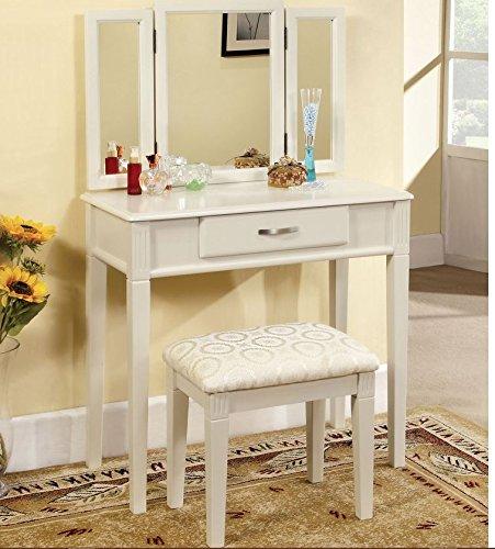 Perfect Amazon.com: Vanity Tri Fold Mirror Table Makeup Station Bedroom Powder Room  Bathroom Mirrored Beauty Desk: Home U0026 Kitchen