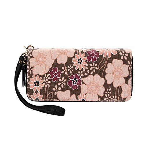 Women Floral Wallet Zipper Canvas Purse Clutch Bag with Coin Pocket and Strap (Large, Brown)
