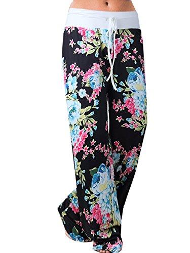 ual Pajama Pants Floral Print Drawstring Palazzo Lounge Pants Wide Leg 2XL Black #5 ()
