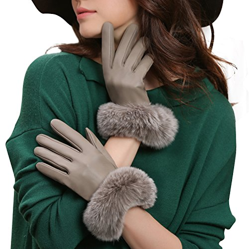 GSG Womens Touchscreen Italian Sheep Nappa Leather Gloves Lady Driving Luxury Genuine Rex Rabbit Fur Cuff Beige