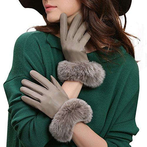 GSG Womens Touchscreen Italian Sheep Nappa Leather Gloves Lady Driving Luxury Genuine Rex Rabbit Fur Cuff Beige