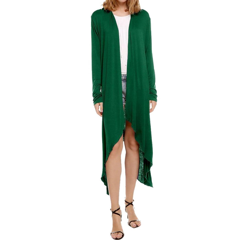 OU GRID Women's Long Sleeve Asymmetric Drape Open Front Long Cardigan