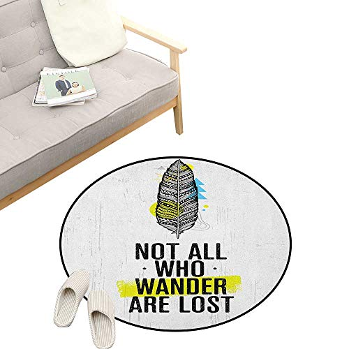 - Adventure Custom Round Carpet ,Tribal Bird Feather with Geometrical Elements and Motivational Quote, Dorm Room Bedroom Home Decorative 47