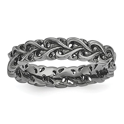 Sterling Silver Stackable Expressions Black-plated Carved (Black Carved Pot)