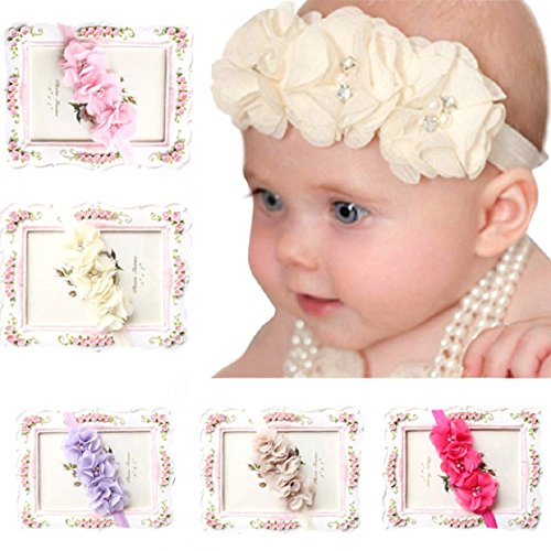 FEITONG 5PC Babys Girls Elastic Headband Chiffon Flower Photography Headbands