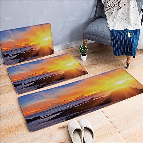 3 Piece Non-Slip Doormat 3D Print for Door mat Living Room Kitchen Absorbent Kitchen mat,Romance in The Sky at Tropic Beach Fantasy Landscape,15.7