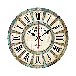Wall Clock,Wooden French Country Tuscan Style Roman Numeral Design Clock By Hmane