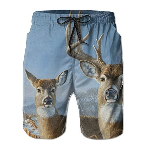 ENGJDHEH Men's Beach Shorts Pants Deers With Pockets For Yoga Sports Home Swim Trunks