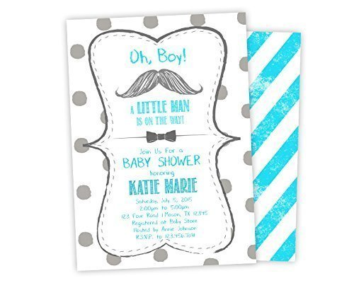 Buy mustache and bow tie baby shower invitations at low prices in usa teal bowtie baby shower invitations mustache little man filmwisefo