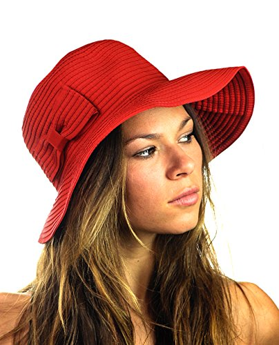 NYFASHION101 Women's Bow Accent Crushable Packable Up Brim Beach Sun Hat, Red