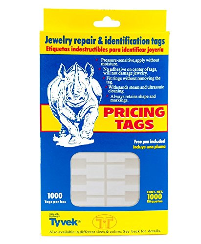 Jewelry Price Tags - Rectangle White (Box of 1000) Jewelry Displays & Boxes A0014