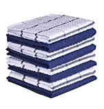 AMOUR INFINI Cotton Terry Kitchen Dish Cloths   Set of 8   12 x 12 Inches   Super Soft and Absorbent  100% Cotton Dish Rags   Perfect for Household and Commercial Uses   Blue