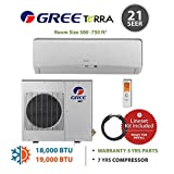 GREE Terra LE Ultra Efficient 18,000 BTU Ductless Mini Split A/C (208/230V) w/ Inverter, Heat, Remote & FREE 25' Line Set Kit