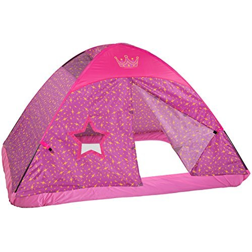 Best Choice Products Pink Princess Full Size Bed Tent Kid's Fantasy Easy Set Up Play House by Best Choice Products