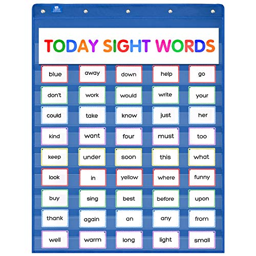 Gamenote Classroom Standard Pocket Chart with Hooks - 34×44 Heavy Duty Hanging Charts for Sentence Strips & Letter Cards & Word Wall (Blue) (Autumn Chart)