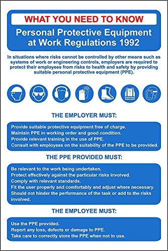 Personal Protective Equipment Regs (PPE) Poster Sign - 8X12 Inch