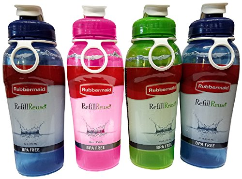 Rubbermaid Refill, Reuse 32-Ounce Jumbo Size Chug Bottle, Assorted Colors, Pack of 4 (Designer Dispenser Value Pack)