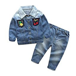 Coper Baby Boys Girls Outfit With 1Set Long Sleeve Jean Coat+Long Pants (4/5T)