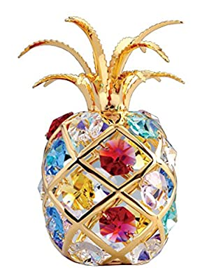 Pineapple 24k Gold-Plated Figurine Ornament with Swarovski Crystals