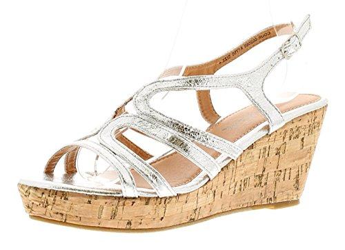 Sizes Silver Womens 3 Sandals Ladies Wedge 8 Silver Apache UK Corrina W1wZaqZc8