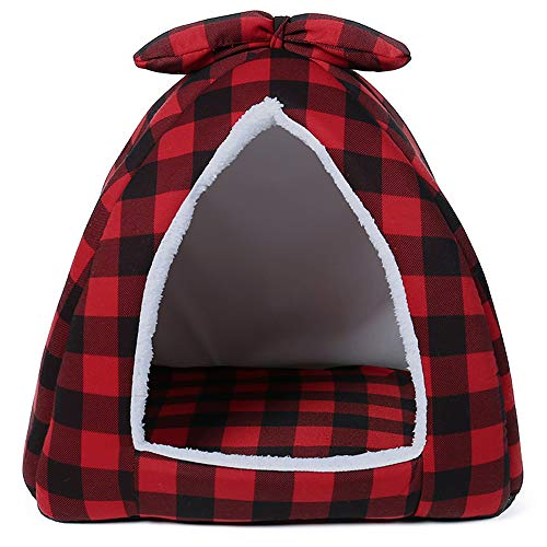PAWZ Road Dog Tent Bed Indoor Enclosed Plaid Pet Tent Bed Creating Security and Warm for Small Dogs and Cats