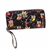Outtop Ladies Owl Pattern Zipper Clutch Handbag Multi Slots Cards Holder Purse Wristlet Long Wallet (Black)