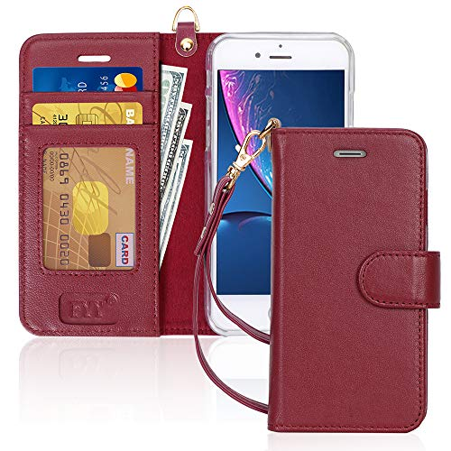 FYY Case for iPhone 7 / iPhone 8, [Kickstand Feature] Luxury Genuine Leather Wallet Case Flip Folio Cover with [Card Slots] and [Note Pockets] for Apple iPhone 7 2016 /iPhone 8 2017 (4.7