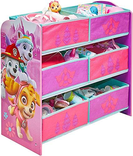 Paw_Patrol Holz Spielzeugregal Girl mit 6 Boxen Organizer Kinderregal Regal Standregal Kindermöbel Spielzeugkiste Spielzeugbox
