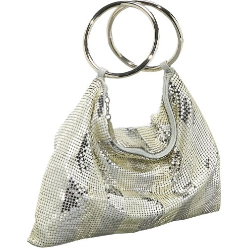 Inge Bag Evening Christopher (Whiting and Davis Matte-Shine Stripes Bracelet Bag (Silver))