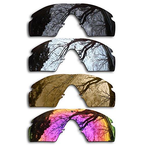 Bronze Silver Chrome Lens - ToughAsNails Set of 4 Polarized Replacement Lenses for Oakley Si Ballistic M Frame 2.0 Pack-BSBM3