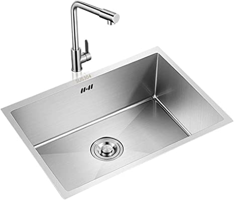 Amazon Com Single Bowl Kitchen Sinks Kitchen Sinks Reversible Inset Kitchen Sink Thickened 304 Stainless Steel Sink Square Kitchen Sink Give A Faucet Drain Basket Silver Color Silver Size A 504021cm Home Kitchen