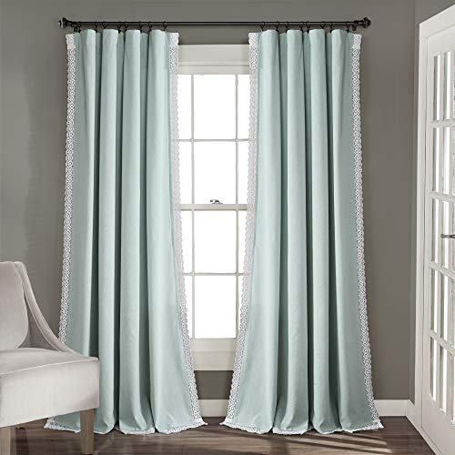 Lush Decor Blue Rosalie Window Curtains Farmhouse, Rustic Style Panel Set for Living, Dining Room, Bedroom (Pair), 84