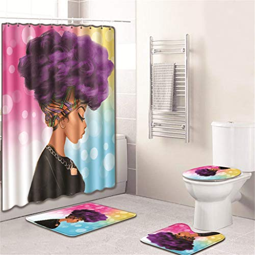 4PCS Shower Curtain Set, Jessie storee African Female European Bathroom Mat Dry Wet Separation Toilet Pad Cover Bath Mat Seat Cover Rug Water-Proof Rustproof, 20 x 32 inch,