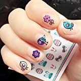 OULII Nail Stickers Glitter Powder Fun 3D Nail Stickers Decals Easter Party Favors DIY Valentine's Day gift for women girls, Pack of 5